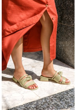 Safa Olive Strappy Block Heel Sandals