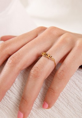 White & Yellow Gold Xoxo Ring
