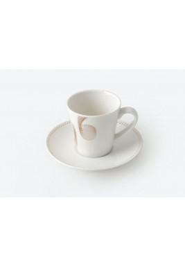 Porcelain Coffee Cup &Saucer Dotted Set of 6 Gold