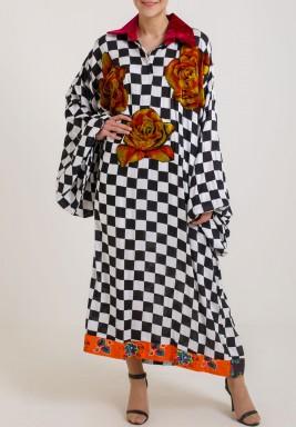 Checkered Floral Kaftan