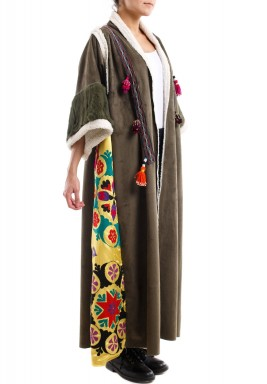 Chamois bisht with woolen sleeves - olive green