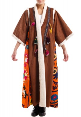 Chamois bisht with woolen sleeves - brown