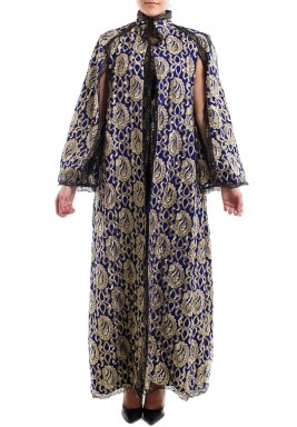 Royal navy blue velvet bisht with golden embroidery