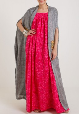 Red & Grey Cape Dress