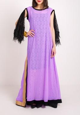 Purple Floral Print Open Back Dress