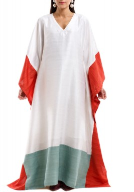 White & Orange Butterfly Kaftan