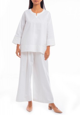 White Top & Wide Legged Pants Set