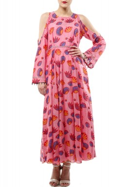 Jodi Pink Printed Cold Shoulders Dress