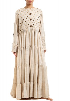 Beige Tiered Open Sleeves Kaftan