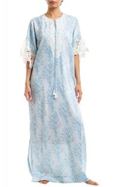 Baby Blue Printed Lace Kaftan