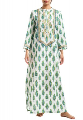 White Green Leaf Maxi Kaftan
