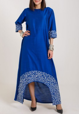 Taika by Poonam Bhagat  Blue with silver embroidered border dress