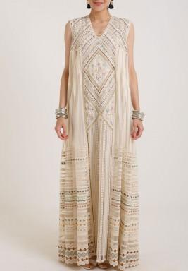 Varun & Nidhika Net Long sheer Dress