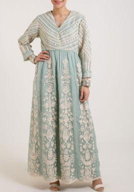 Varun & Nidhika Organza Long dress Dusty Blue