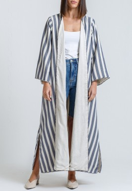 White & Blue Striped Double Face Bisht