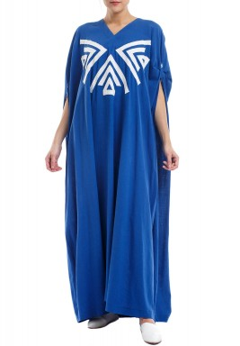 Blue Embroidered Maxi Kaftan
