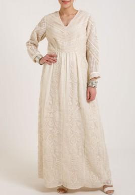 Varun & Nidhika Organza Long dress Ivory
