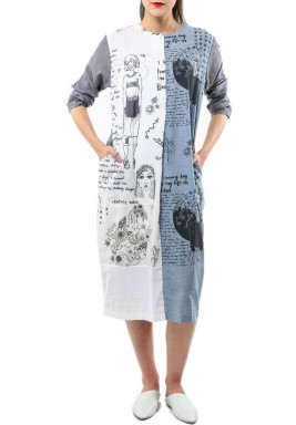Doodlage Blue & White Printed Dress