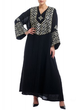 Black Embroidered Long Sleeves Kaftan