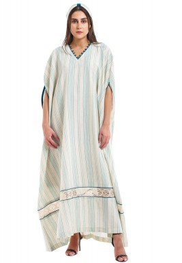 Beige & Blue Striped Kaftan