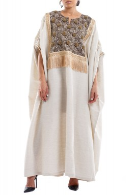 Beige Embellished Linen Kaftan