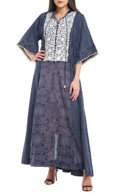Navy & White Embroidered Kaftan