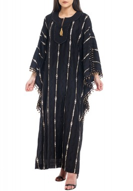 Black Sequined Beaded Kaftan