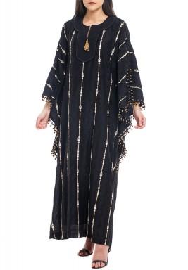Black Sequined Beaded Kaftan