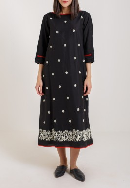 Taika by Poonam Bhagat  Aline Dress red Edging
