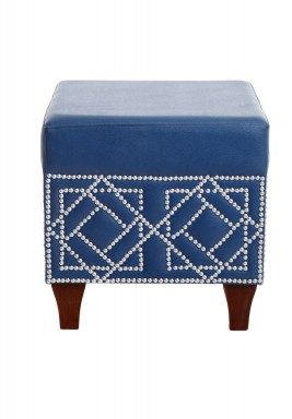 Navy Square Studs Stool