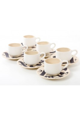 Off white Istanbuli Turkish Coffee Cup and saucer set of 6