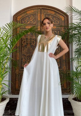 White & Gold Leather Maxi Kaftan
