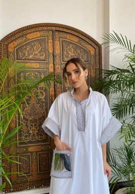 White Metallic Pocket Kaftan