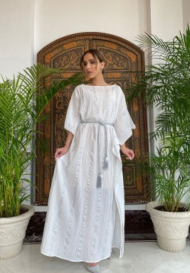 White & Silver Striped Belted Kaftan