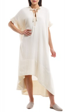 Layla White Hooded Kaftan