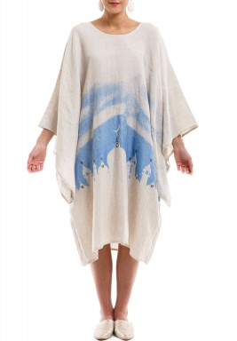 Sama White & Blue Printed Kaftan