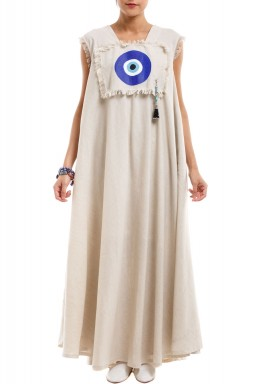Blue Eye Patch on Beige Kaftan