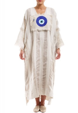 White Kaftan With Blue Eye Patch
