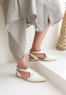 Sedef Cream Pointed Toe Sandal