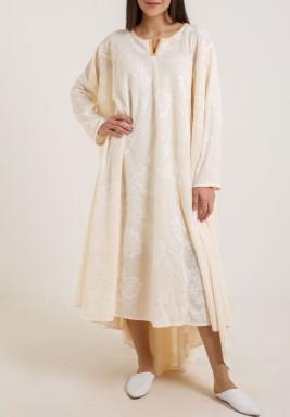 Long Sleeve Beige Dress