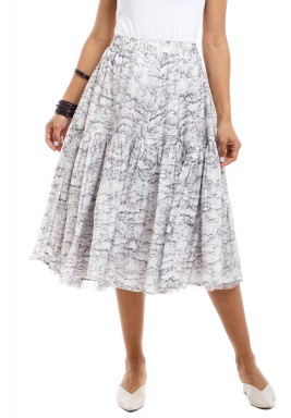 White & Black Ruffled Midi Skirt