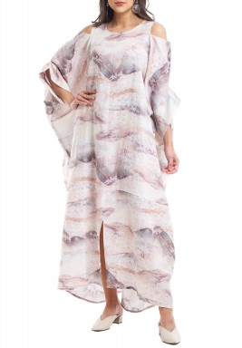 Beige Cold Shoulders Printed Kaftan