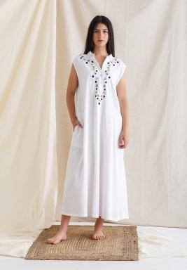White Embroidered Sleeveless Kaftan
