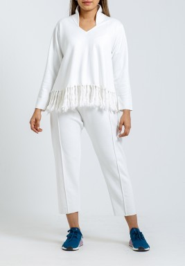 White Fringes Top & Pants Set