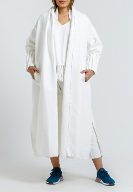 White Pleated Sleeves Maxi Bisht