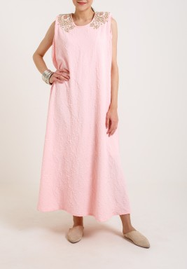 Pink Pleated Kaftan