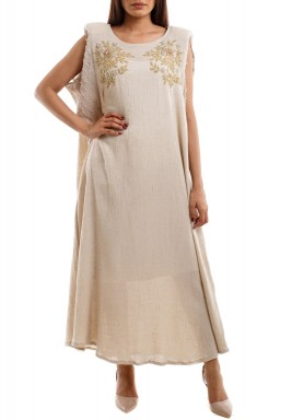 Golden floral Kaftan maxi dress beige