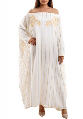 Oversized Offshoulder Golden striped & Embroidered Kaftan