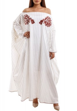 Oversized Offshoulder Brown striped & Embroidered Kaftan