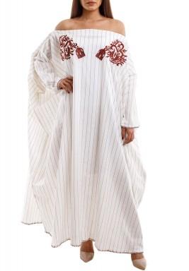 Oversized Offshoulder Brown striped & Embroidered Kaftan